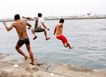 'Random men jumping into the sea', by James Hadfield